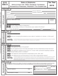 Form 998-A 2018 Application for 100% Disabled Veterans Household Personal Property Tax Exemption - Oklahoma