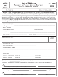 Form OTC 990 2017 Payment Of Taxes Under Protest Due To Pending Appeal - Oklahoma