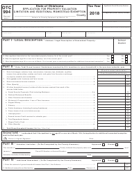 Form OTC 994 2018 Application For Property Valuation Limitation And Additional Homestead Exemption - Oklahoma