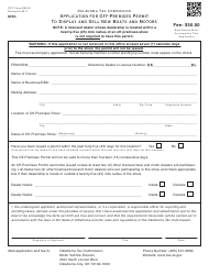 Form BM-22 Application for off-Premises Permit to Display and Sell New Boats and Motors - Oklahoma