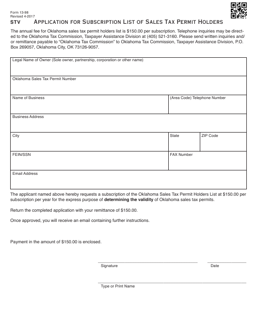 Oklahoma City Sales Tax >> Otc Form 13 98 Download Fillable Pdf Or Fill Online