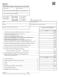 Form FRX 200 Oklahoma Annual Franchise Tax Return - Oklahoma