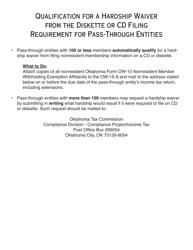 """OTC Form OW-15 """"Nonresident Member Withholding Exemption Affidavit"""" - Oklahoma"""