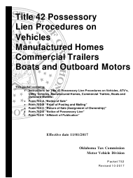 Form 752 Title 42 Possessory Lien Procedures on Vehicles, Manufactured Homes, Commercial Trailers, Boats and Outboard Motors - Oklahoma