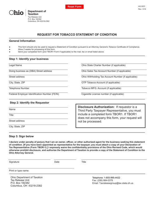 Form AG-SOC  Printable Pdf