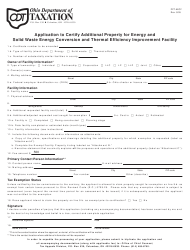 Form PPT AECF Application to Certify Additional Property for Energy and Solid Waste Energy Conversion and Thermal Efficiency Improvement Facility - Ohio