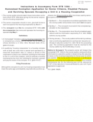 Instructions for Form Dte 105a - Homestead Exemption Application for Senior Citizens, Disabled Persons and Surviving Spouses Occupying a Unit in a Housing Cooperative