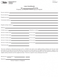 Form DTE 125 Lien Certificate for Property Tax Payment Linked Deposit Program - Ohio