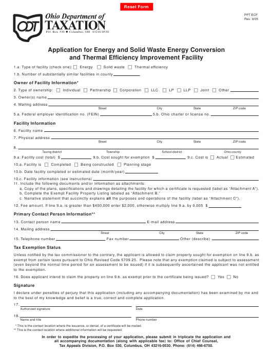 Form PPT ECF Download Fillable PDF, Application for Energy