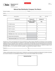 Form MCF 2 Natural Gas Distribution Company Tax Return - Ohio
