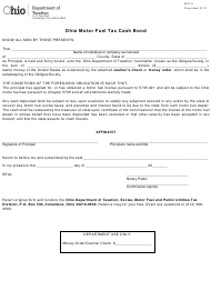 "Form MVF6 ""Ohio Motor Fuel Tax Cash Bond"" - Ohio"