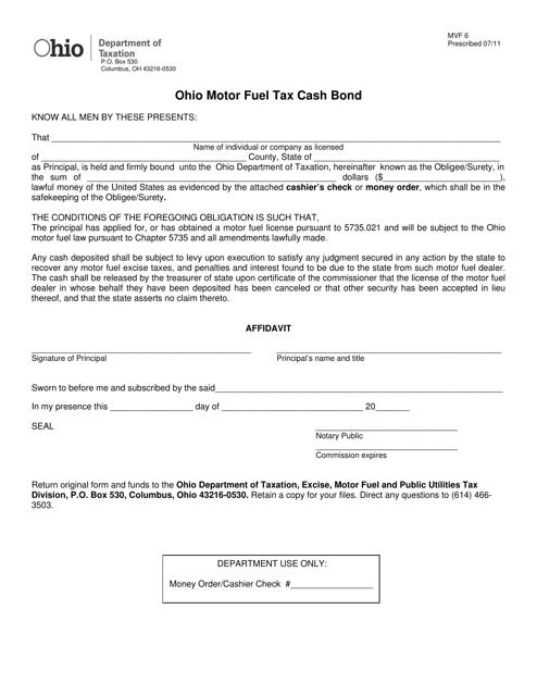 Form MVF6  Printable Pdf