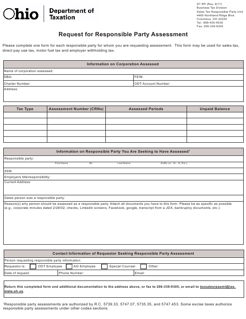 Form ST RP  Printable Pdf