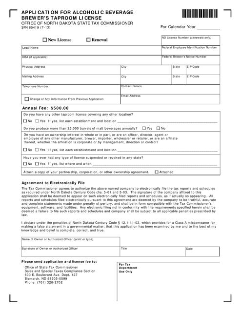 Form SFN60419  Printable Pdf