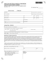 Form SFN 60422 Application for Alcoholic Beverage Logistics Shipper License - North Dakota