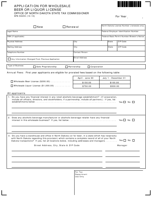 Form SFN 59455 Download Fillable PDF, Application for