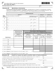 Form 38 2017 Schedule Bi - Beneficiary Information - North Dakota
