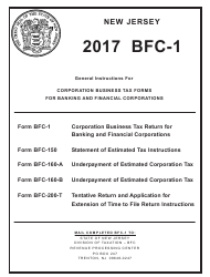 Instructions For Form Bfc-1 - Corporation Business Tax Return For Banking And Financial Corporations 2017