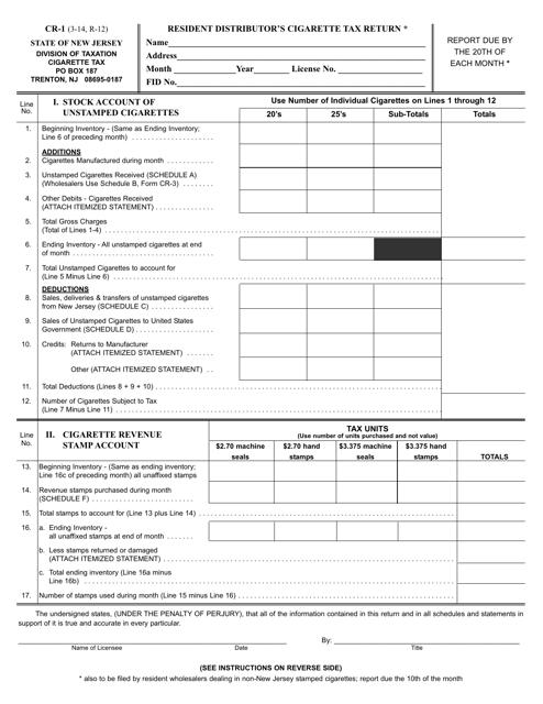 Form CR-1  Printable Pdf