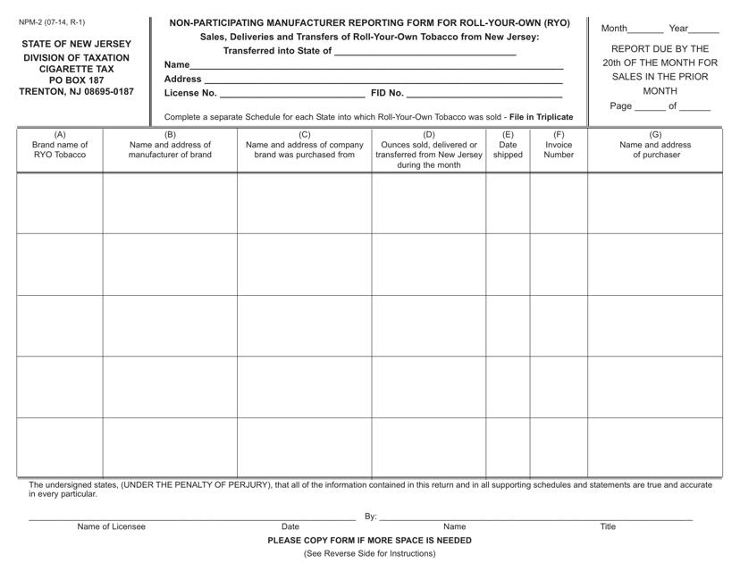 Form NPM-2  Printable Pdf