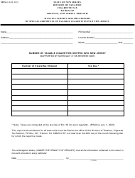 Form MSS-1 Manufacturer's Monthly Report of Special Shipments of Taxable Cigarettes Into New Jersey - New Jersey