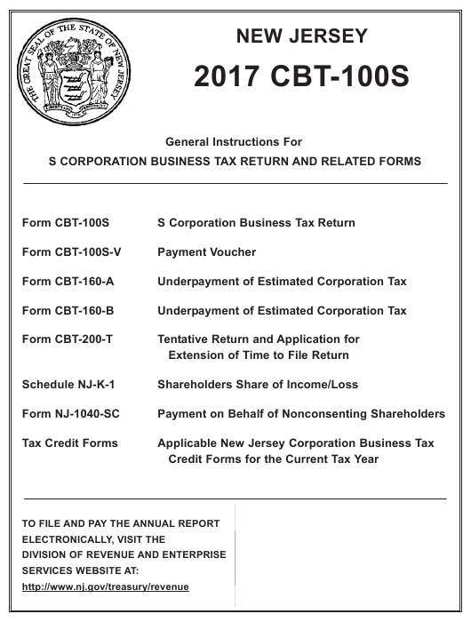 Instructions For Form Cbt 100s S Corporation Business Tax Return