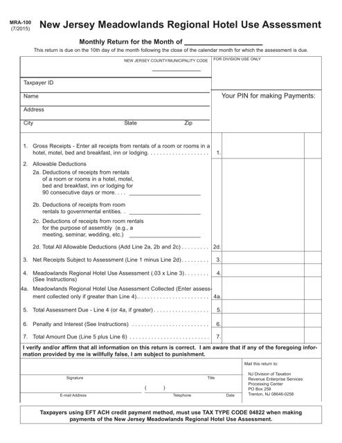 Form MRA-100  Printable Pdf