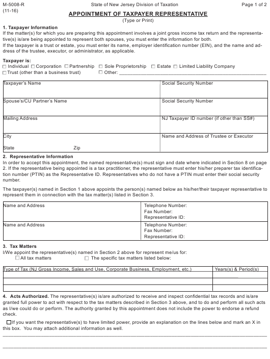 Form M-5008-R Fillable Pdf