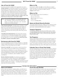 Instructions For Form Nj-1040x - Amended Resident Return 2017