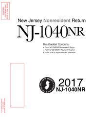 Instructions For Form Nj-1040nr - Nonresident Return 2017