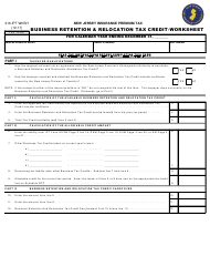 Form 316-IPT Business Retention & Relocation Tax Credit - Worksheet - New Jersey