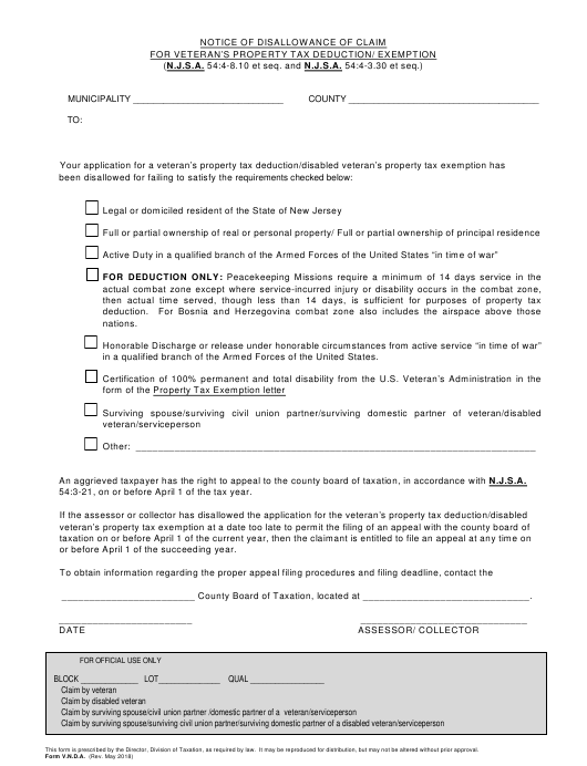 Form V.N.D.A. Fillable Pdf