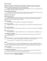 Instructions for Form Mfa-12 - Import Verification Tax Return