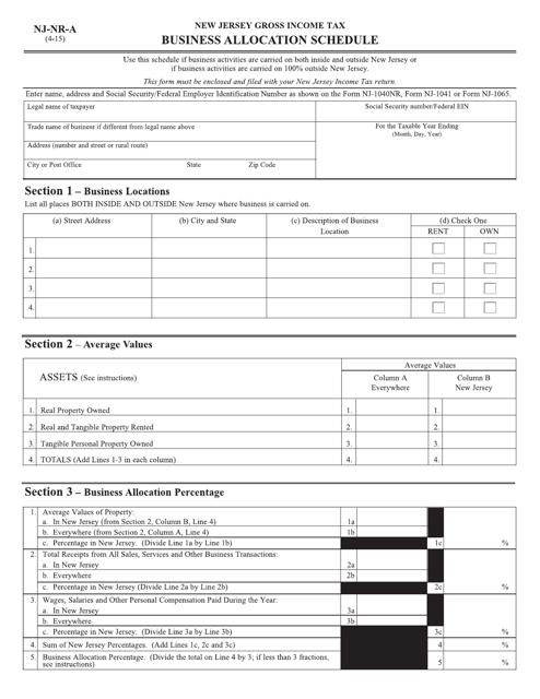 Form NJ-1040NR Fillable Pdf