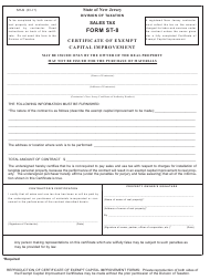 "Form ST-8 ""Certificate of Exempt - Capital Improvement"" - New Jersey"