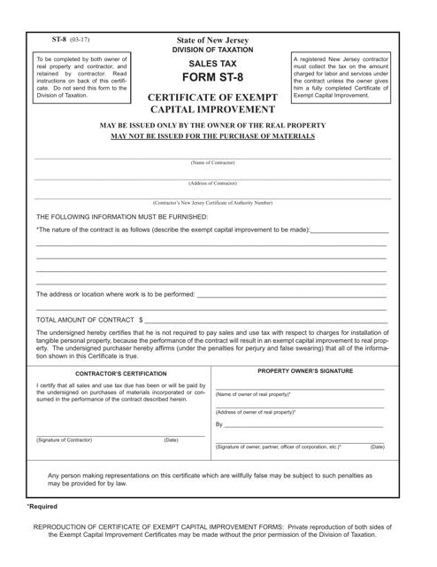Form ST-8  Printable Pdf