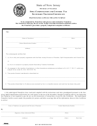 Form SCC-2 Spill Compensation and Control Tax Secondary Transfer Certificate - New Jersey