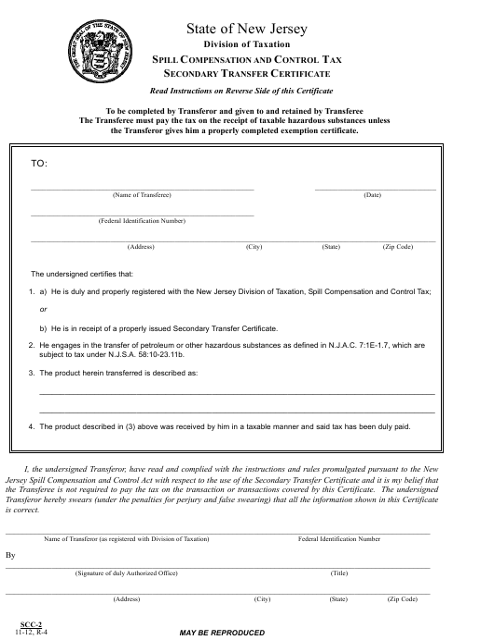 Form SCC-2  Printable Pdf