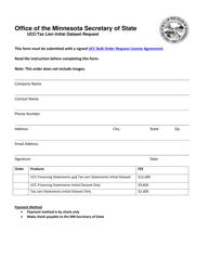 Ucc/Tax Lien Initial Dataset Request Form - Minnesota