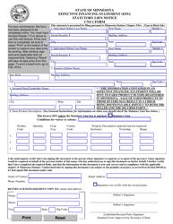 Form CNS-1 Effective Financing Statement (Efs)/ Statutory Lien Notice - Minnesota