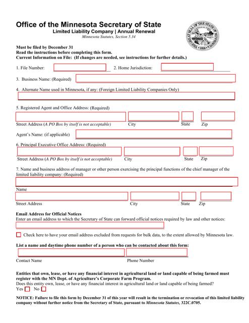"""Limited Liability Company Annual Renewal"" - Minnesota Download Pdf"