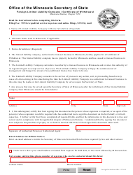 """""""Certificate of Withdrawal - Foreign Limited Liability Company"""" - Minnesota"""