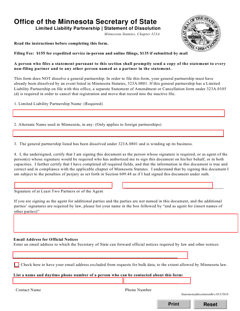 """Statement of Dissolution - Limited Liability Partnership"" - Minnesota Download Pdf"