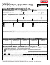 Form 627 Assessor or Equalization Director's Notice of Property Incorrectly Reported or Omitted From Assessment Roll - Michigan