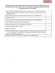 Worksheet for Filers With Taxable Railroad Retirement Benefits or Qualifying Pension and Retirement Benefits From Service in the U.S. Armed Forces or Michigan National Guard and Completing Section D of Form 4884 - Michigan
