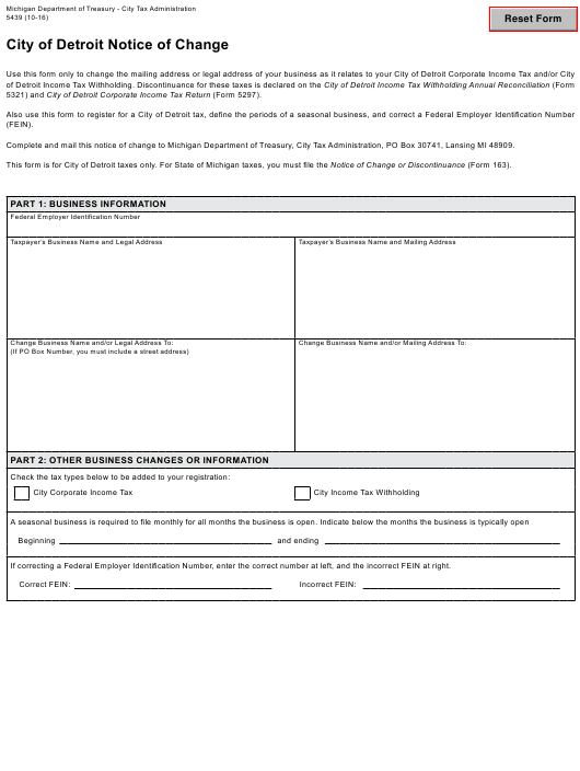 Form 5439 Download Fillable PDF, City of Detroit Notice of