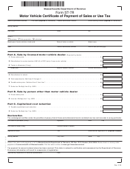 "Form ST-7R ""Motor Vehicle Certificate of Payment of Sales or Use Tax"" - Massachusetts"