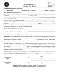 "Form Excises2 ""Excise Tax Bond"" - Massachusetts"