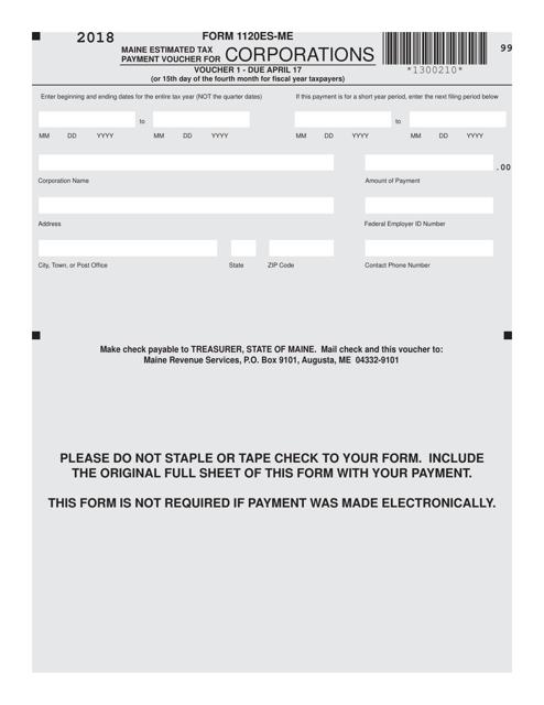 Form 1120ES-ME Printable Pdf