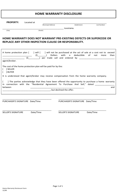 """Home Warranty Disclosure Form"" - Louisiana Download Pdf"